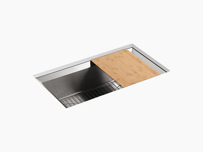 KOHLER K-3158-NA 33 INCH UNDERMOUNT SINGLE-BOWL KITCHEN SINK WITH CUTTING BOARD AND RACK