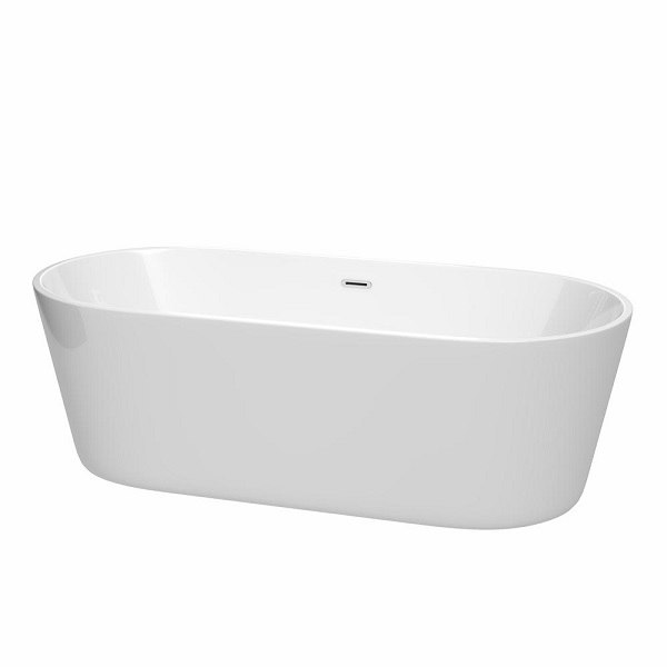 WYNDHAM COLLECTION WCOBT101271 CARISSA 71 INCH FREESTANDING BATHTUB IN WHITE WITH POLISHED CHROME DRAIN AND OVERFLOW TRIM