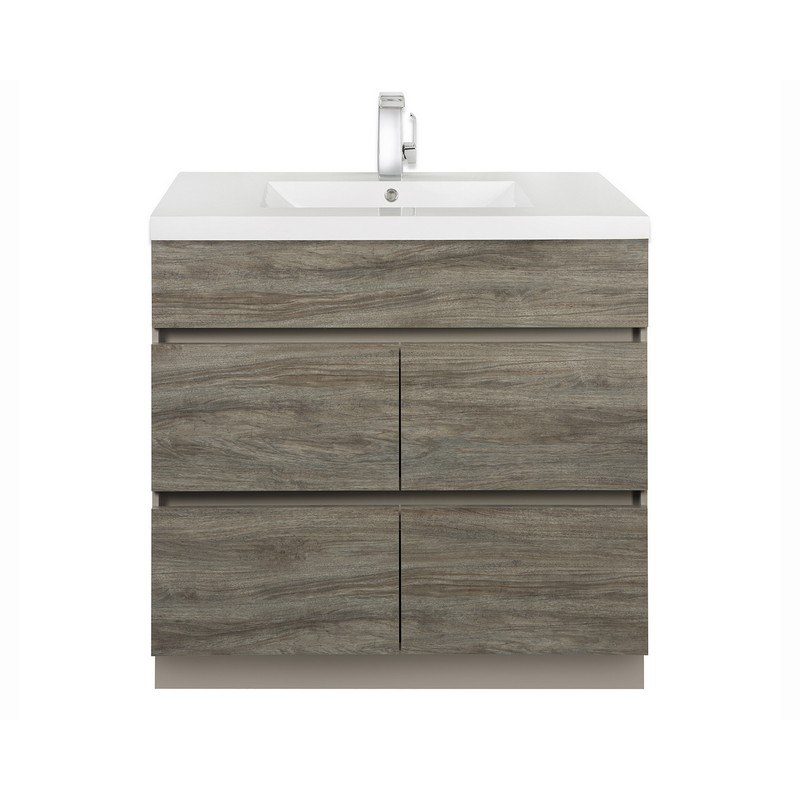 CUTLER KITCHEN AND BATH BW SW36 BOARDWALK COLLECTION 36 INCH HANDLESS BATHROOM VANITY WITH TOP IN SOUTHWESTER