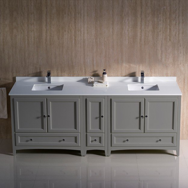 Fresca Fcb20 361236gr Cwh U Oxford 84 Inch Gray Traditional Double Sink Bathroom Cabinets With Top