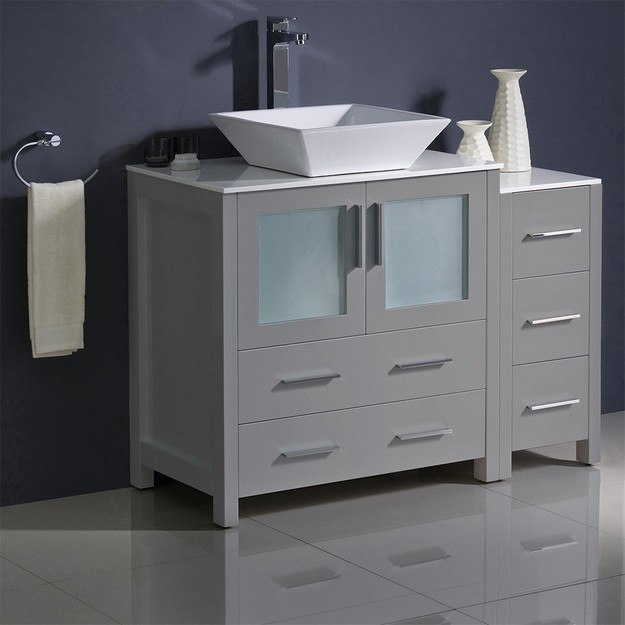 FRESCA FCB62-3012GR-CWH-V TORINO 42 INCH GRAY MODERN BATHROOM CABINETS WITH TOP AND VESSEL SINK