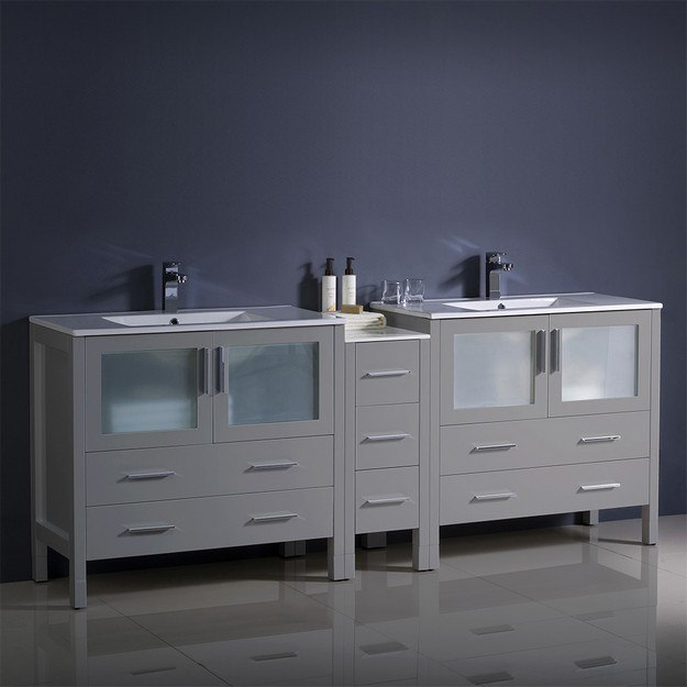 FRESCA FCB62-361236GR-I TORINO 84 INCH GRAY MODERN DOUBLE SINK BATHROOM CABINETS WITH INTEGRATED SINKS