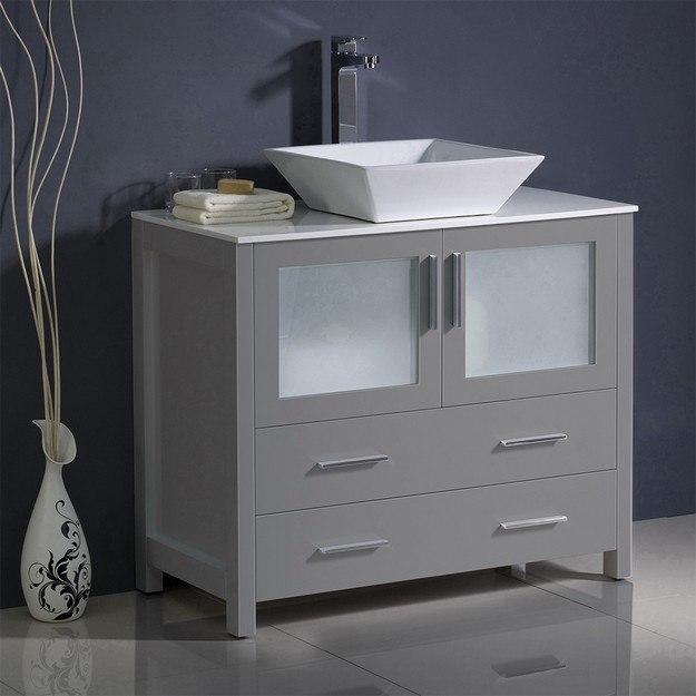 FRESCA FCB6236GR-CWH-V TORINO 36 INCH GRAY MODERN BATHROOM CABINET WITH VESSEL SINK