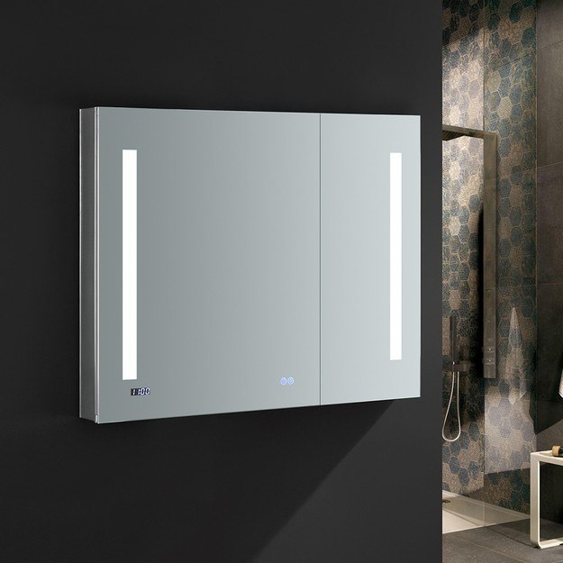 FRESCA FMC013630 TIEMPO 36 X 30 INCH TALL BATHROOM MEDICINE CABINET WITH LED LIGHTING AND DEFOGGER