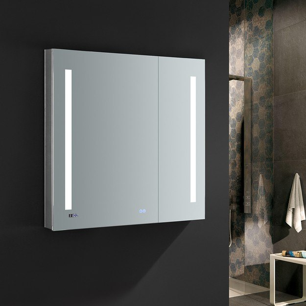 FRESCA FMC013636 TIEMPO 36 X 36 INCH TALL BATHROOM MEDICINE CABINET WITH LED LIGHTING AND DEFOGGER