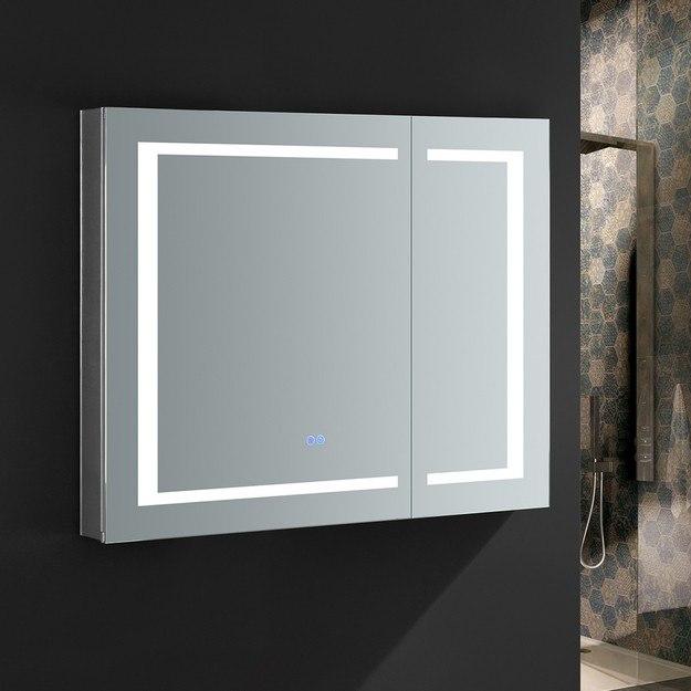 FRESCA FMC023630 SPAZIO 36 X 30 INCH TALL BATHROOM MEDICINE CABINET WITH LED LIGHTING AND DEFOGGER