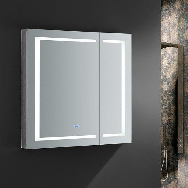 FRESCA FMC023636 SPAZIO 36 X 36 INCH TALL BATHROOM MEDICINE CABINET WITH LED LIGHTING AND DEFOGGER