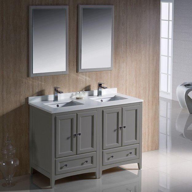 Fvn20 2424gr Oxford 48 Inch Gray Traditional Double Sink Bathroom Vanity Fvn20 2424gr Fst2060gr Oxford 48 Inch Gray