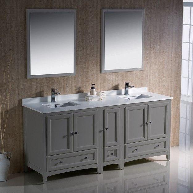Fvn20 301230gr Oxford 72 Inch Gray Traditional Double Sink Bathroom Vanity Fvn20 301230gr Fst2060gr Oxford 72 Inch