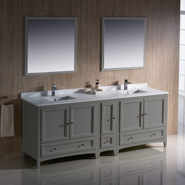 Fvn20 361236gr Oxford 84 Inch Gray Traditional Double Sink