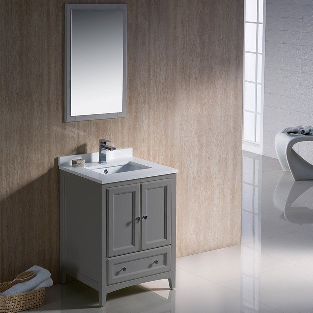 Fvn2024gr Oxford 24 Inch Gray Traditional Bathroom Vanity Fvn2024gr Fst2060gr Oxford 24 Inch Gray Traditional
