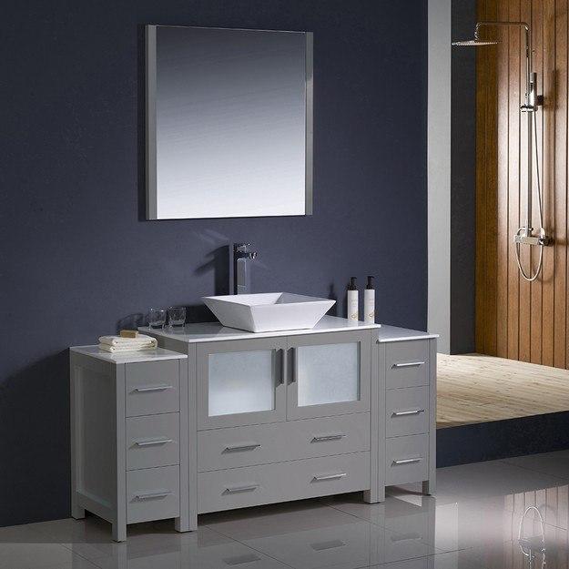 Fvn62 123612gr Vsl Torino 60 Inch Gray Modern Bathroom Vanity W 2 Side Cabinets And Vessel Sink Fvn62 123612gr Vsl