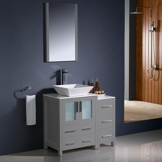 FRESCA FVN62-2412GR-VSL TORINO 36 INCH GRAY MODERN BATHROOM VANITY WITH SIDE CABINET AND VESSEL SINK