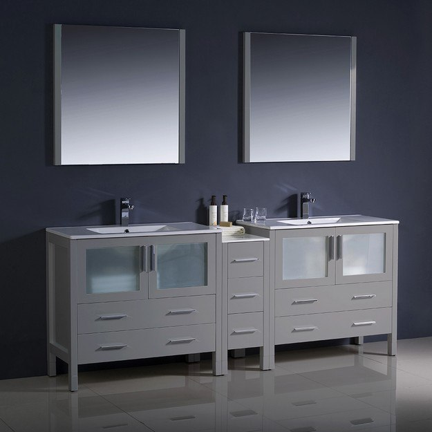 Inch Gray Modern Double Sink Bathroom
