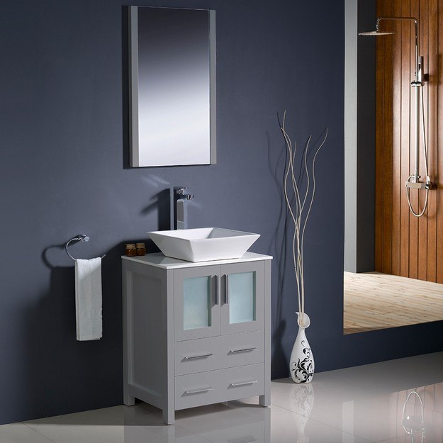 Fresca Fvn6224gr Vsl Torino 24 Inch Gray Modern Bathroom Vanity With Vessel Sink