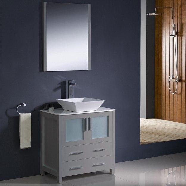 FVN6230GR VSL Torino 30 Inch Gray Modern Bathroom Vanity w/ Vessel