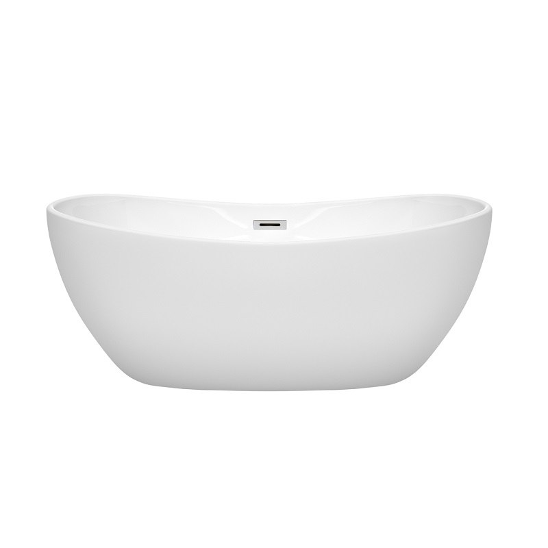 WYNDHAM COLLECTION WCOBT101460 REBECCA 60 INCH FREESTANDING BATHTUB IN WHITE WITH POLISHED CHROME DRAIN AND OVERFLOW TRIM