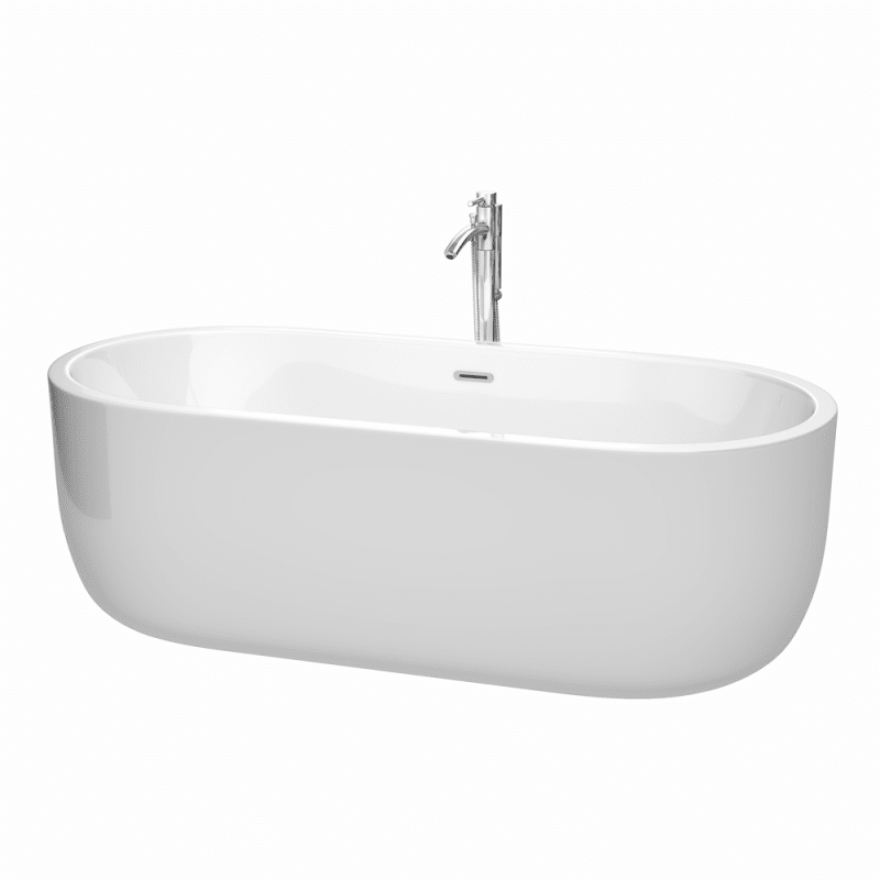 WYNDHAM COLLECTION WCOBT101371ATP11 JULIETTE 71 INCH FREESTANDING BATHTUB IN WHITE WITH FLOOR MOUNTED FAUCET, DRAIN AND OVERFLOW TRIM