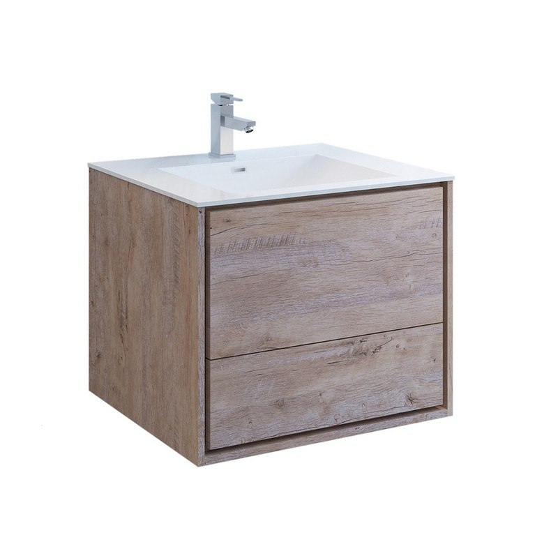 FRESCA FCB9230RNW-I CATANIA 30 INCH RUSTIC NATURAL WOOD WALL HUNG MODERN BATHROOM CABINET WITH INTEGRATED SINK