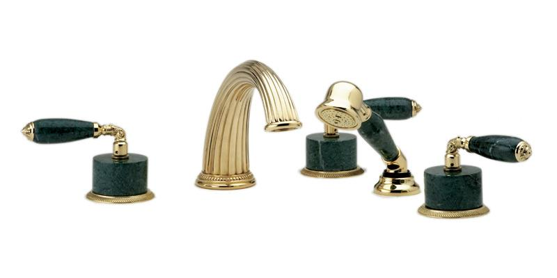 PHYLRICH K2338FP1 VALENCIA FIVE HOLES WIDESPREAD DECK TUB SET WITH HAND SHOWER AND GREEN MARBLE LEVER HANDLES