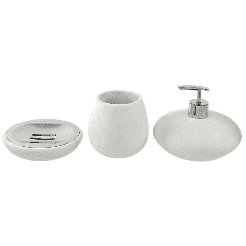 GEDY OP281-02 OPUNTIA BATHROOM ACCESSORY SET IN WHITE