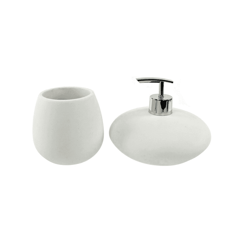 GEDY OP581-02 OPUNTIA BATHROOM ACCESSORY SET IN WHITE