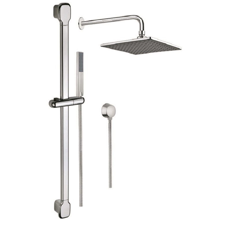 Gedy Sup1002 Superinox Shower System With Handshower Slide Bar And Showerhead In Chrome