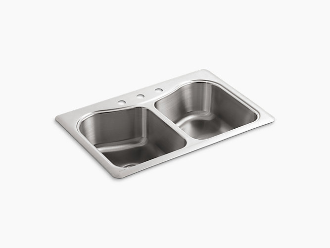 KOHLER K-3369-3-NA STACCATO 33 INCH DOUBLE BASIN TOP-MOUNT 18-GAUGE STAINLESS STEEL KITCHEN SINK WITH SILENTSHIELD