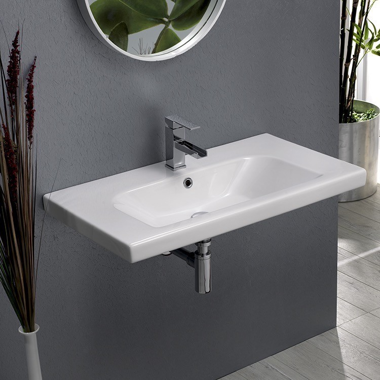 CERASTYLE 081600-U LISBOA 32 X 18 INCH RECTANGLE WHITE CERAMIC WALL MOUNTED OR SELF RIMMING SINK