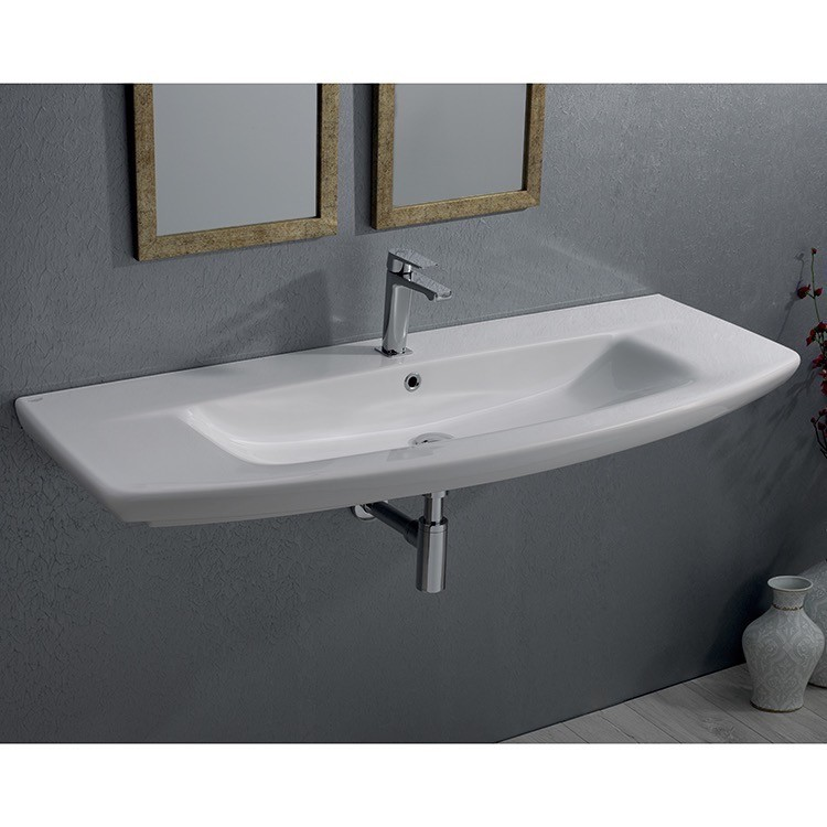 CERASTYLE 083700-U CITY K 40 X 20 INCH RECTANGLE WHITE CERAMIC WALL MOUNTED OR SELF RIMMING SINK