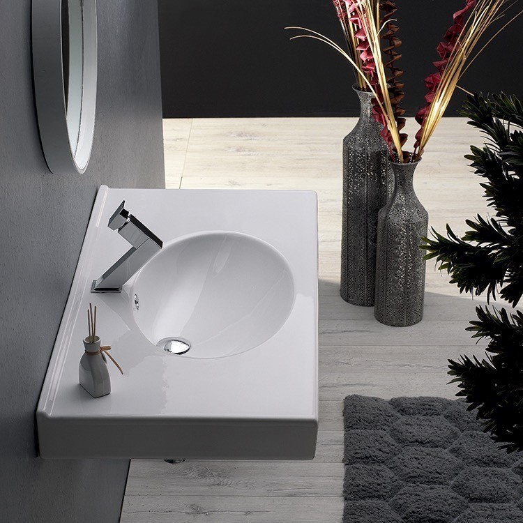 CERASTYLE 084200-U RITA 32 X 19 INCH RECTANGLE WHITE CERAMIC WALL MOUNTED OR SELF RIMMING SINK