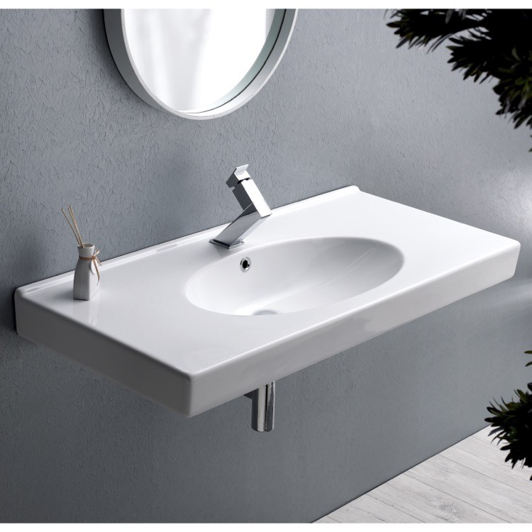 CERASTYLE 084400-U RITA 39 X 19 INCH RECTANGLE WHITE CERAMIC WALL MOUNTED OR SELF RIMMING SINK
