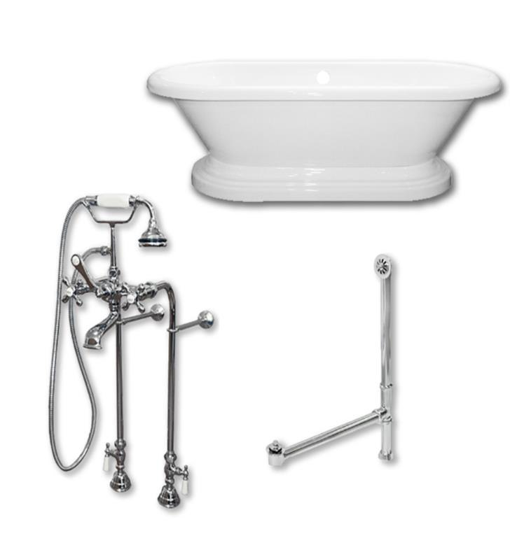 CAMBRIDGE PLUMBING ADEP60-398463-PKG-NH 60 INCH FREE STANDING DOUBLE ENDED PEDESTAL BATHTUB WITH COMPLETE PLUMBING PACKAGE AND NO FAUCET DRILLINGS