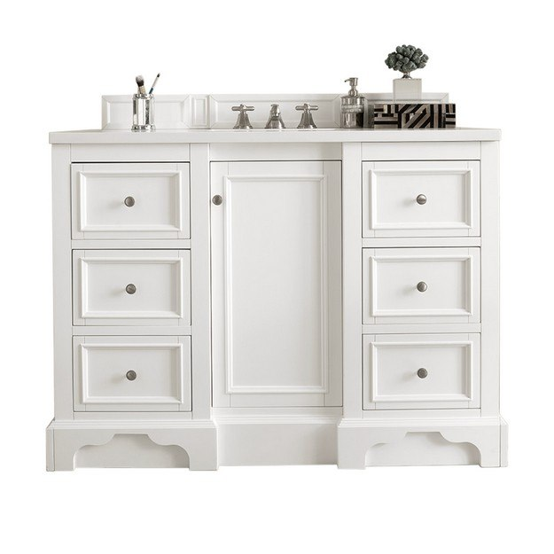 JAMES MARTIN 825-V48-BW-3AF DE SOTO 48 INCH SINGLE VANITY IN BRIGHT WHITE WITH 3 CM ARCTIC FALL SOLID SURFACE TOP