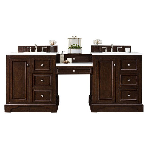 JAMES MARTIN 825-V82-BNM-DU-CAR DE SOTO 82 INCH DOUBLE VANITY SET IN BURNISHED MAHOGANY WITH MAKEUP TABLE IN 3 CM CARRARA MARBLE TOP