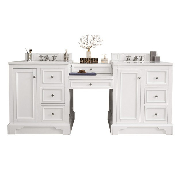 JAMES MARTIN 825-V82-BW-DU-CAR DE SOTO 82 INCH DOUBLE VANITY SET IN BRIGHT WHITE WITH MAKEUP TABLE IN 3 CM CARRARA MARBLE TOP