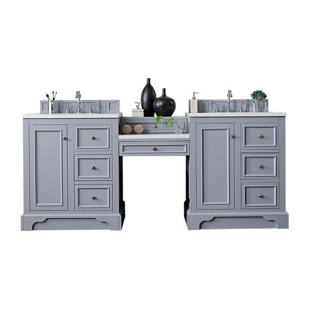 JAMES MARTIN 825-V82-SL-DU-CLW DE SOTO 82 INCH DOUBLE VANITY SET IN SILVER GRAY WITH MAKEUP TABLE IN 3 CM CLASSIC WHITE QUARTZ TOP