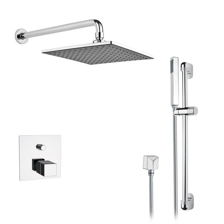 REMER SFR08 RENDINO SLEEK SQUARE RAIN SHOWER FAUCET WITH SLIDE RAIL IN CHROME