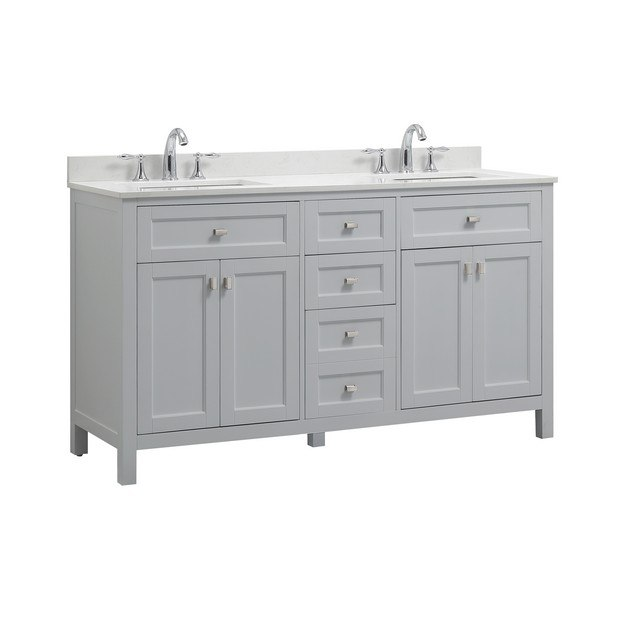 Cahaba Ca101015 60 Inch Vanity In Dove Grey With Marble Vanity Top In White And White
