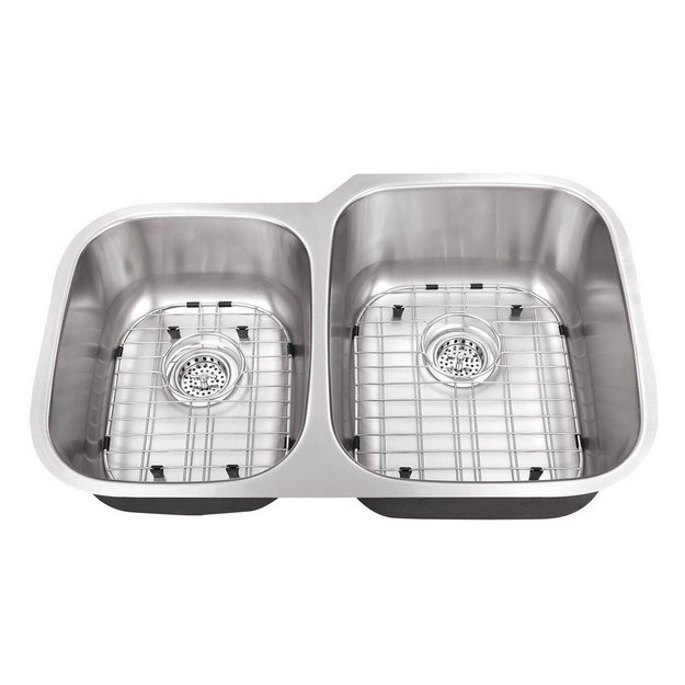 CAHABA CA121332 32 INCH 16 GAUGE STAINLESS STEEL DOUBLE BOWL 40/60 KITCHEN SINK WITH GRID SET AND DRAIN ASSEMBLIES