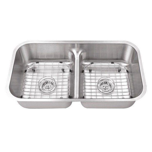 CAHABA CA1221L32 32-1/2 INCH 18 GAUGE STAINLESS STEEL DOUBLE BOWL KITCHEN SINK WITH LOW DIVIDER AND GRID SET AND DRAIN ASSEMBLIES