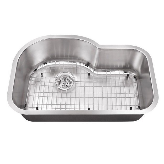 CAHABA CA122632 31-1/2 INCH 18 GAUGE STAINLESS STEEL SINGLE BOWL EUROSTYLE KITCHEN SINK WITH GRID SET AND DRAIN ASSEMBLY