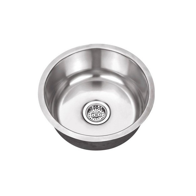CAHABA CA122R17 17 INCH 18 GAUGE STAINLESS STEEL SINGLE BOWL ROUND BAR SINK WITH DRAIN ASSEMBLY
