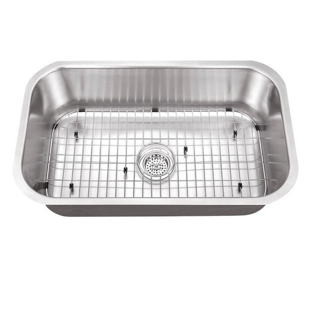 CAHABA CA122SB30 30 INCH 18 GAUGE STAINLESS STEEL SINGLE BOWL KITCHEN SINK WITH GRID SET AND DRAIN ASSEMBLY