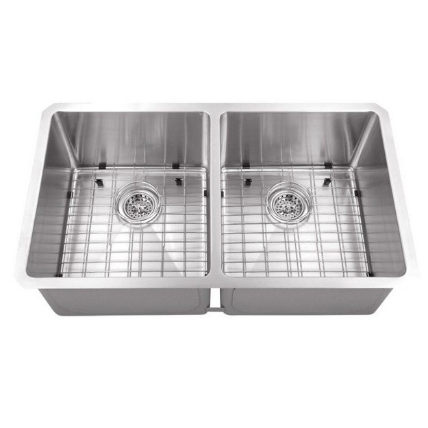 CAHABA CA221132 32 INCH 16 GAUGE STAINLESS STEEL 50/50 KITCHEN SINK WITH GRID SET AND DRAIN ASSEMBLIES