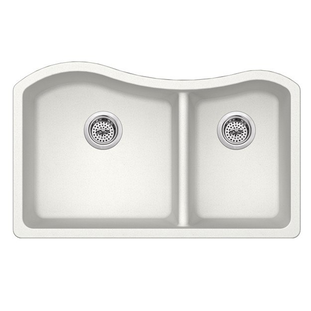 CAHABA CA324233-A 32-1/2 INCH QUARTZ 60/40 DOUBLE BOWL KITCHEN SINK IN  ALPINE WITH TWIST AND LOCK STRAINER
