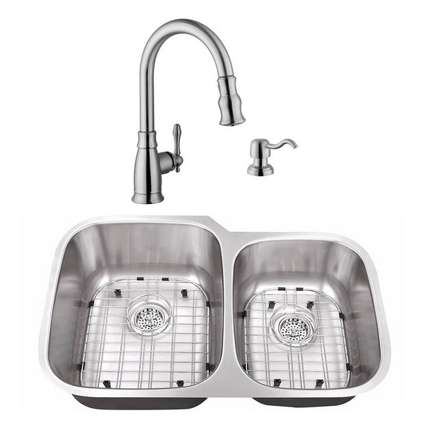 CAHABA CASC0002 32 INCH 18 GAUGE STAINLESS STEEL DOUBLE BOWL 60/40 KITCHEN  SINK WITH GOOSENECK PULL OUT KITCHEN FAUCET AND SOAP DISPENSER