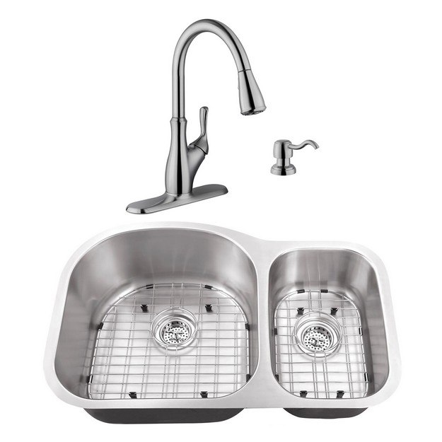 CAHABA CASC0015 32 INCH 18 GAUGE STAINLESS STEEL DOUBLE BOWL 70/30 KITCHEN SINK WITH GOOSENECK PULL OUT KITCHEN FAUCET AND SOAP DISPENSER