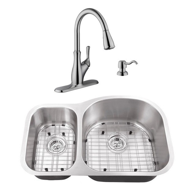 CAHABA CASC0019 32 INCH 18 GAUGE STAINLESS STEEL DOUBLE BOWL 30/70 KITCHEN  SINK WITH GOOSENECK PULL OUT KITCHEN FAUCET AND SOAP DISPENSER