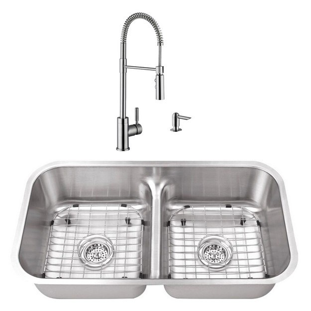 Cahaba CASC0036 33 Inch 18 Gauge Stainless Steel Double Bowl Kitchen Sink  with Pull Down Industrial Style Kitchen Faucet and Soap Dispenser